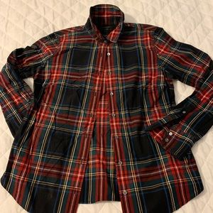 J Crew black Stewart plaid blouse